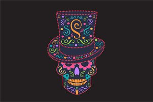 Skull with cylinder hat colored