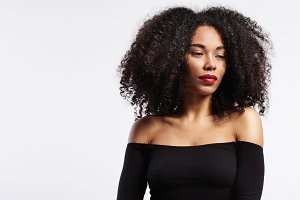 black woman with big afro hair