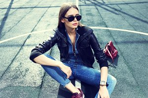 stylish hipster woman outdoor