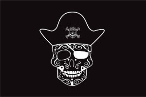 Skull pirate white color vector