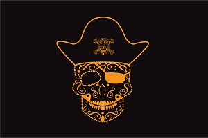 Skull pirate orange color vector