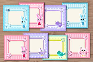 Cute baby frame with animals