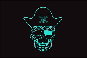 Skull pirate neon color vector