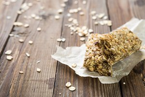 Granola energy on brown table