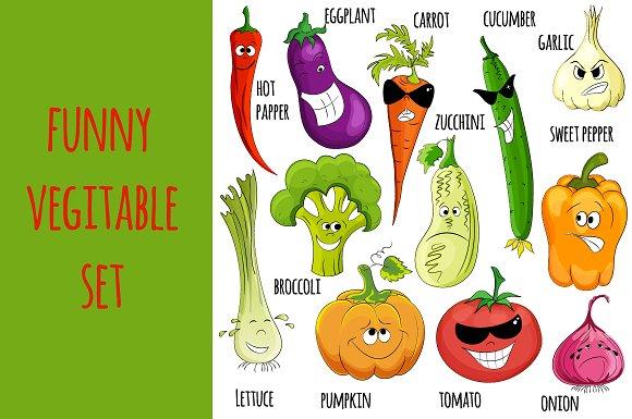 Funny Vegitable set. Smile ) - Illustrations