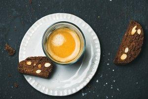 Coffee espresso with biscotti