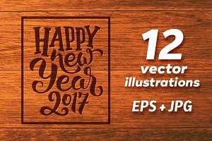Happy New Year 2017 vector cards set