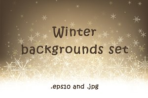Winter backgrounds set with snow