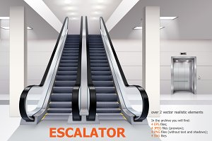 Escalator realistic set