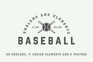 Retro baseball emblems and elements.