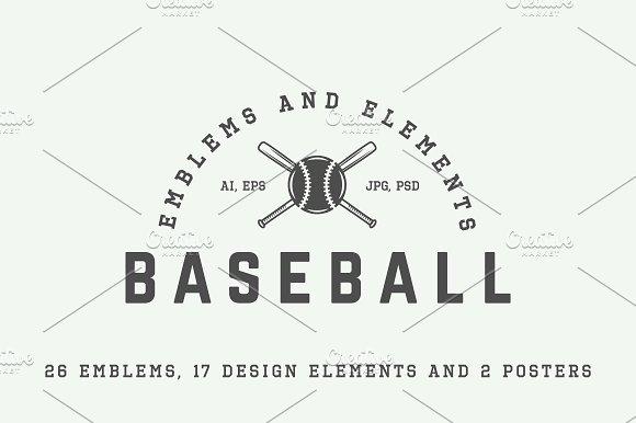 Retro baseball emblems and elements.