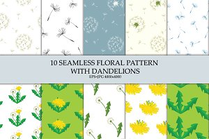 Seamless floral vector patterns 50%