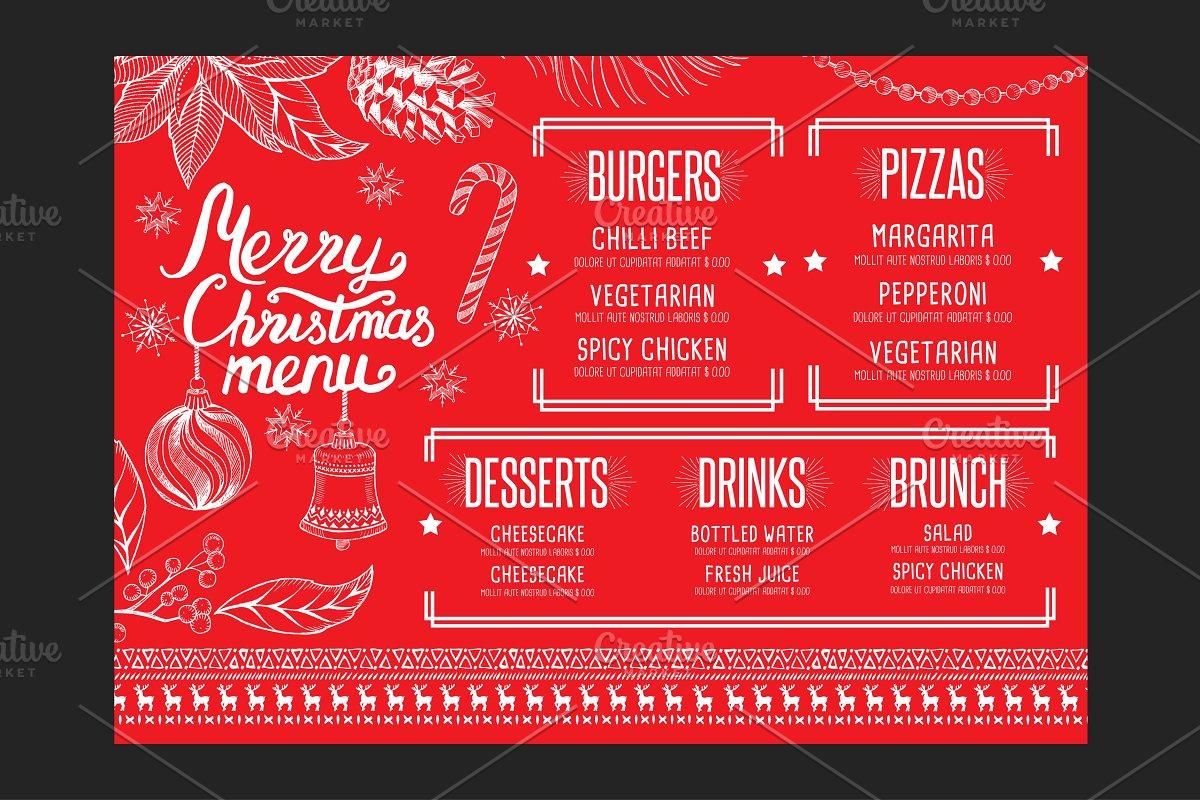 Christmas Restaurant Poster.Christmas Restaurant Template Brochure Templates