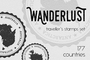 Wanderlust - 177 traveller's stamps