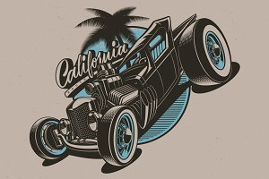 hot rod vector illustration