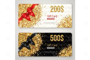 Gift cards with red and black bow
