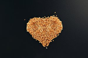 Sesame seeds in heart shape