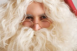 Close up of Santa in glasses