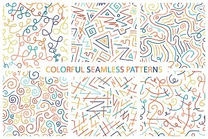 Colorful seamless patterns.