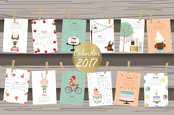 Calendar 2017 With Cute Animal 3#
