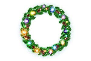 Christmas Wreath, balls isolated