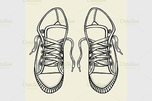 Sketch sneakers illustration.