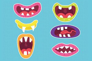 Cute Monster Mouths Clipart