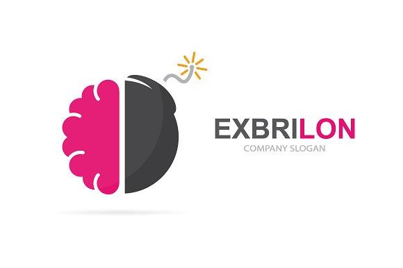 Brain and bomb logo combination.