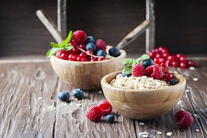 Homemade muesli with berry