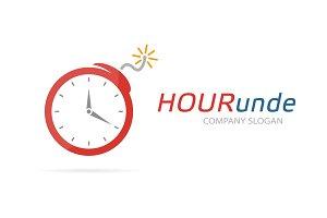 Clock and bomb logo combination