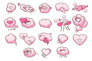 Cloud love hearts comic elements