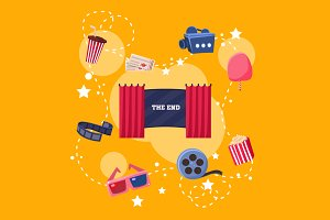 Cinema Flat Design Elements