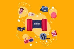 Cinema Flat Design Elements