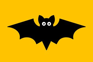 Cartoon Bat on Orange Background
