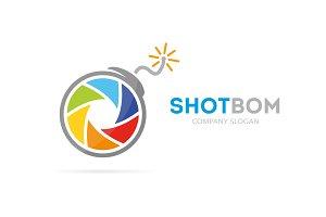 Camera shutter bomb logo combination