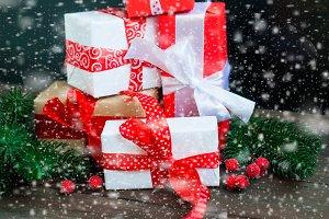 Gift box with ribbon.Christmas card
