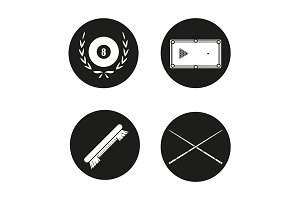 Billiard equipment. 4 icons. Vector