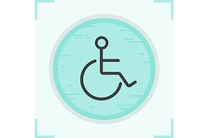 Wheelchair color icon. Vector