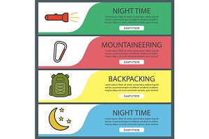 Hiking banner templates set. Vector