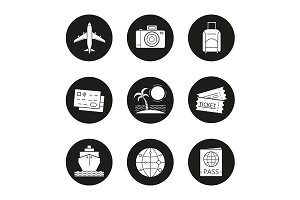 Vacation and travel. 9 icons. Vector