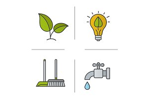 Environment protection icons. Vector