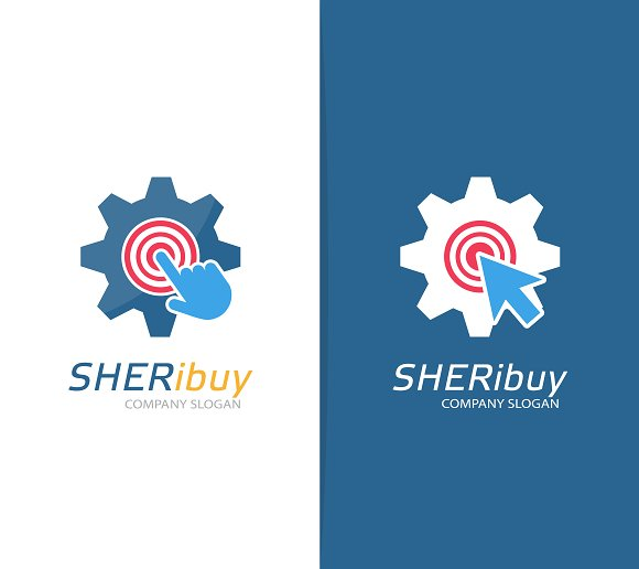 Gear and click logo combination in Logo Templates - product preview 2