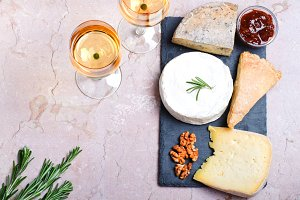 cheese, nuts, jam and wine