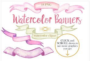 Watercolor banners clip art