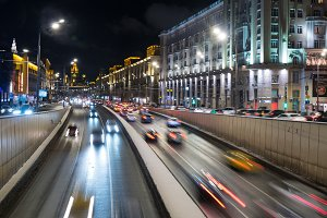 Russia ,Moscow 11,12,16 The flow of cars on the street in Moscow evening winter