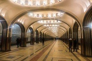 Russia Moscow 11,12,2016 Metro Mayakovskaya Interior