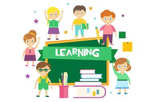 Kids Learning Flat Vector