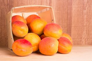 Basket of ripe apricots