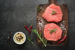 Raw beef steak on a cutting board