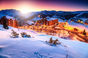 Winter landscape with sunset